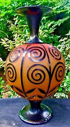 Gary Genetti Geometric Etched Cranberry Glass Vase 15 Tall