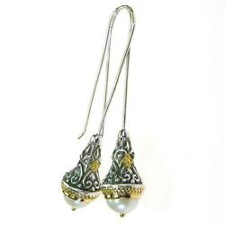 Gerochristo 1393 Medieval-byzantine Earrings- Solid Gold Silver And Pearls