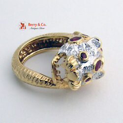 18k Gold Leopard Ring Rubies Diamonds Panther Head Vintage