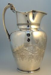 Gorham Coin Silver Water Pitcher Grape Motif Providence 1860.