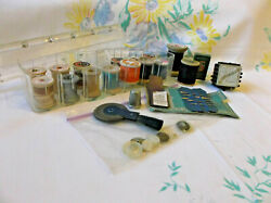 Vintage Antique Sewing Lot Wooden Spools Singer Simanco Needles Tidee Maid Box