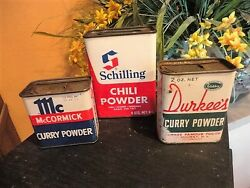 Spice Tin Schilling Mccormick Durkee's Curry Chili Advertising Tins Vintage
