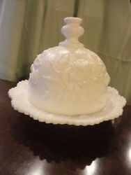 Imperial Glass Company Rose Pattern White Milk Glass Dome Butter Dish Vintage
