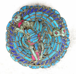 Antique Chinese Silver Kingfisher Lobster Brooch