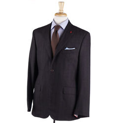 Nwt 3695 Isaia Dark Brown Flannel 'tridimensional Comfort' Wool Suit 42 R