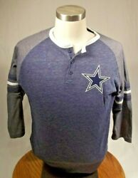 Mitchell And Ness Throwback Dallas Cowboys Henley Soft T-shirt Authentic Medium M