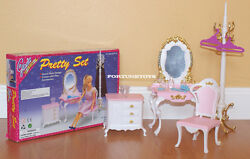 New Gloria Doll House Furniture Pretty Vanity With Coat Stand Playset 2315