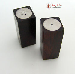 Art Moderne Danish Sterling Silver And Rose Wood Salt And Pepper Shakers 1960