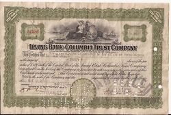 1926 'irving Bank-columbia Trust Company' Bank Stock Certificates - 20 Shares