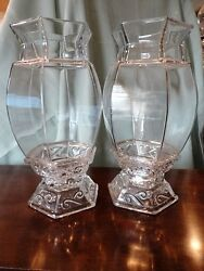Wedding Cathay Imperial Glass Hurricane Candle Holder Lamps Pair