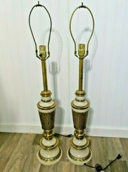 Hollywood Regency Pair Of Vintage Lamps Mid Century Modern Brass and Enamel