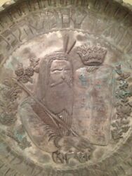 Moses Museum Quality Large Synagogue Judaica Persian Wall Hanging Plate Amazing