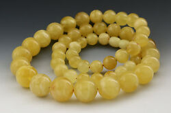 Genuine Baltic Amber White Butter Round Beads 15-8mm Necklace 43.9g N151001-10