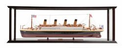 Rms Titanic Ocean Liner Wood Model 40 White Star Line W/ Table Top Display Case