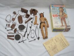 Vintage Marx Toys Chief Cherokee Movable Indian 11 Action Figure 2063 W/box/acc