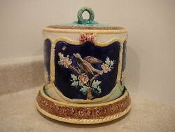 Antique Thomas Forester Majolica Cheese Dome Bell Keeper Birds Ferns Water Lily