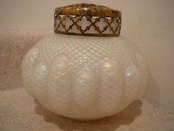 S20 Vintage Art Glass Quilted White Satin Vase With Flower Frog