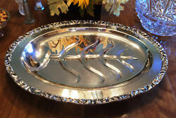 Vtg Crescent Silverplate Meat Plattertray Pattern 4826 - 21x15 1/2 In. Footed