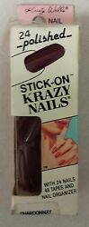 Vintage Stick - On Nails Pack Of 24 Krazy Nails Unique Old Retro Items Nice