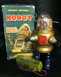 Nomura Toy Piston Action Robot Gold Body Figure Remote Control Battery Operated
