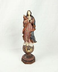 Late 18thc Baroque Style Hardwood Carved Christian Figure Of A Woman In Prayer