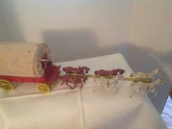 Vintage Collectible Toy Cast Iron Covered Wagon With 6 Horses And Driver England