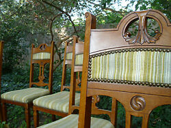 Antique Dining Parlor Chair Set Aesthetic Movement Mid Century Upholstery Wear