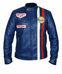Steve McQueen Le Mans Driver Grandprix Gulf Motorcycle Leather Jacket $104.99