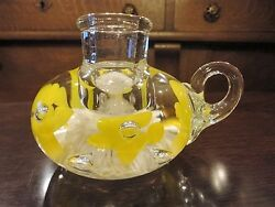 Joe Rice St Claire Art Glass Paperweight Finger Lamp Candlestick Candle Holder