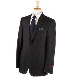 Nwt 3995 Isaia Chocolate Brown Stripe Soft Flannel Wool Suit 40 R Eu 50