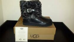New Kids Ugg Australia Ellee Animal-was 180-size 5 Blk Leather, Spotted Cuff