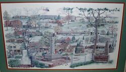 Rare George Becker 1993 Colored Print Of Glenview, Illinois Land Marks Framed