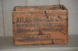 Old Vintage Antique Wooden Atlas Powder Shipping Crate Ammo Box Finger Jointed