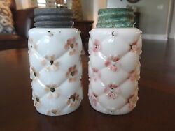 Eapg Northwood Glass Quilted Phlox Tall Salt And Pepper Shakers Milk Glass Painted