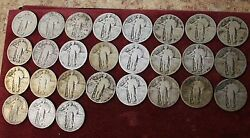 Lot Of 27 Silver Standing Liberty Quarter Circulated 90 Silver Quarters.