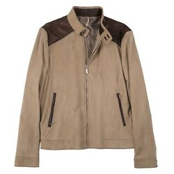 Brioni Tan Nappa Suede Jacket With Chocolate Brown Leather Details M Eu 50