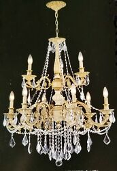 Palace Royal 9 Light Antique White Crystal Chandelier 28x32