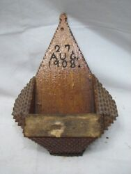 Early Hand Carved Tramp Art Match Safe Holder Wall Pocket Wooden Box 1908