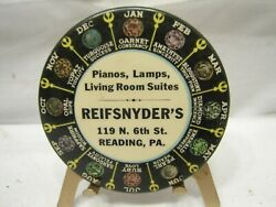 Antique Reading Pa Advertising Pocket Mirror Ad Reifsnyder's Piano And Furniture