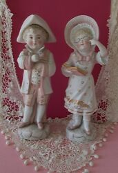 Antique Bisque Figurines George And Martha Colonial Children Tricorn Glasses Book