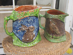Lot Of Two Very Rare Antique Ceramics Majolica Pottery Pitcher Jug From Balkans