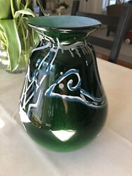 Tony Jojola Green Glass Avanyu Olla - Exceptional Handcrafted Glass By A Master
