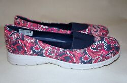 Lands End Paisley Floral Pink Blue Womens 6.5 Slip On Sneakers Shoes
