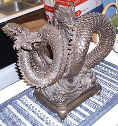 DRAGON BRONZE ANTIQUE EXQUISITE JAPANESECHINESE INSPIRED ONE OF A KIND MARKED!
