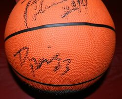 Drazen Petrovic Autographed Basketball With Jsa Coa Derrick Coleman And More