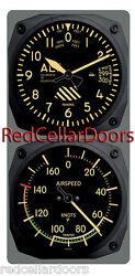 New Trintec Vintage Altimeter And Airspeed Clock And Thermometer 2pc Console Set