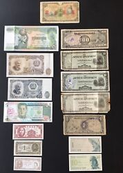 Lot Of 15 Different World Mixed Foreign Banknotes Currency Some Are Au