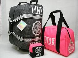 NWT VICTORIAS SECRET PINK 3PC LUGGAGE SET WHEELLE CARRY ON & BEAUTY BAG VIP .