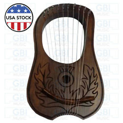 Lyre Harp 10 strings Scottish Thistle  Rosewood with free key bag + string set
