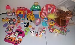 Vtg Toy Lot Figures Disney Little People Car Wash Troll Doll Retro Cell Phone +